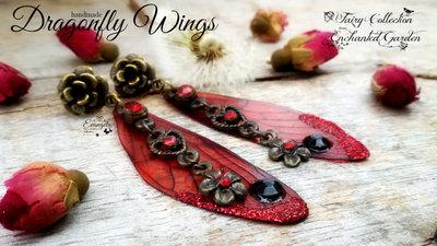 Orecchini Ali di libellula bronzo perno rosso