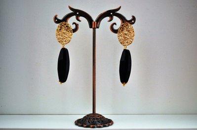 Orecchini handmade in onice e monachella ottone