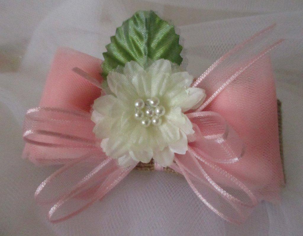 Bomboniera fiocco di iuta con fiore rosa e bianco