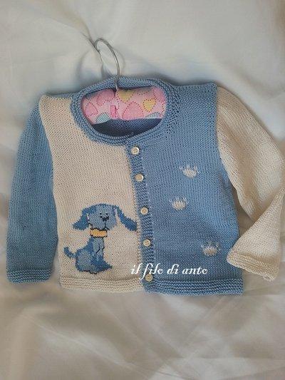 Giacchino /maglia/ cardigan in puro cotone con cane ricamato