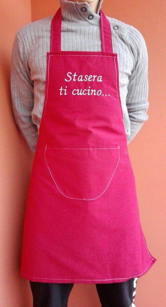 Grembiule da cucina per uomo rosso con scritta uomo - Grembiule da cucina ...