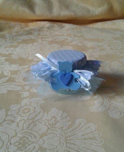 Bomboniera barattolino in vetro con decorazione in crepla per nascita o battesimo