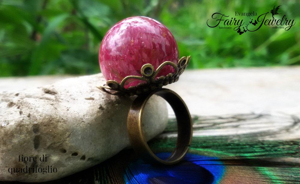 Anello fiore naturale di quadrifoglio resina sfera bronzo regolabile gioielli botanici