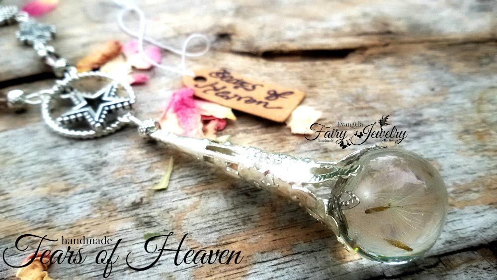 Collana lacrime paradiso semi dandelion resina argento gioielli botanici stelle