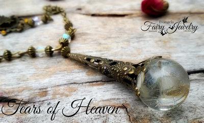 Collana lacrime paradiso semi dandelion resina bronzo gioielli botanici stelle