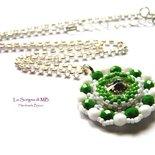 Ciondolo Cristallo, verde, bianco, tessitura di perline, pendente punto luce