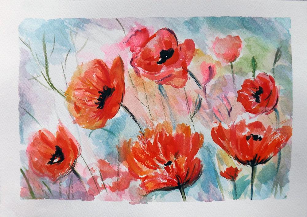 Acquerello papaveri dipinto a mano per la casa e per te for Immagini di fiori dipinti