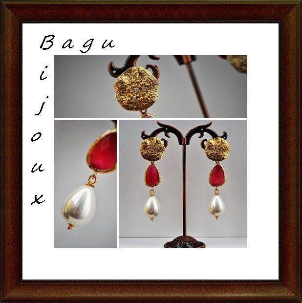 Orecchini handmade in ottone, occhi di gatto e perla barocca