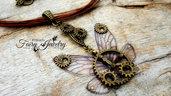 Collana ali fata libellula steampunk bronzo marrone cordoncino