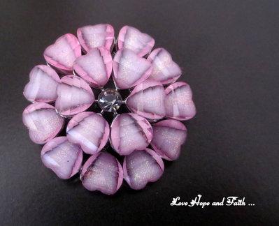 "Bottone ""Floreale Rosa""  (cod. new) (diametro 35mm)"