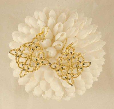 Orecchini chiacchierino filo metallico dorato e perline