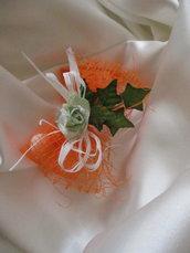 Bomboniera fiocco di tulle arancio e rosa