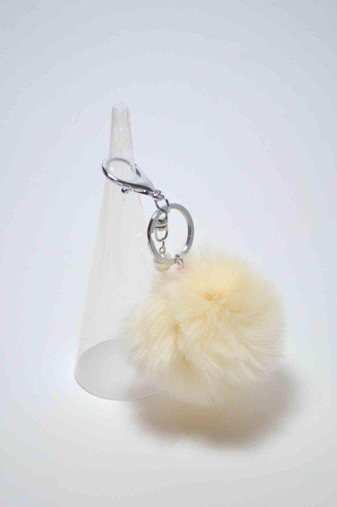 Portachiavi pon pon pom pom morbida pelliccia sintetica panna keyrings con perla pendente 8 cm grande