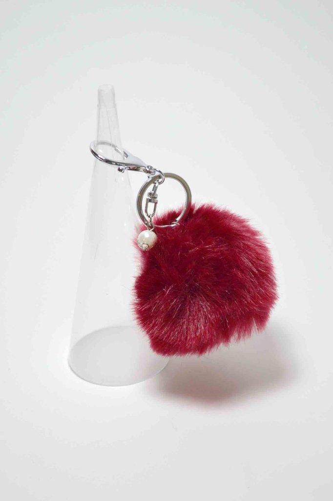portachiavi pon pon pom pom morbida pelliccia sintetica bordeaux  keyrings con perla pendente 8 cm grande