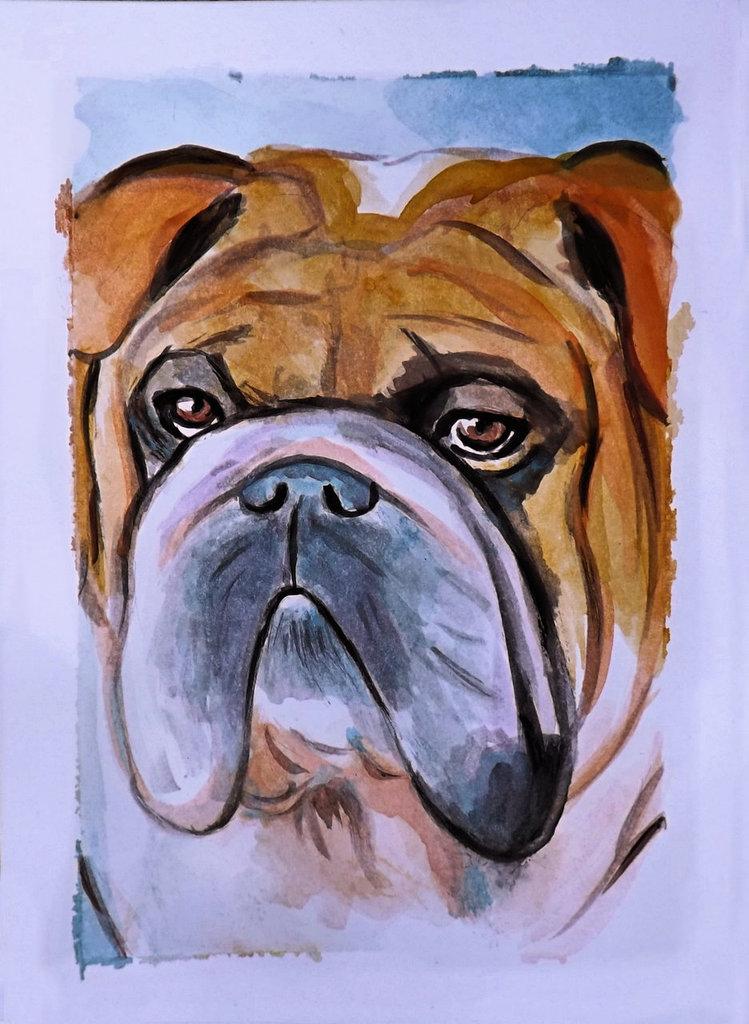 Acquerello dipinto a mano cane bulldog inglese