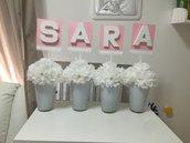 Composizione fiori vaso nome personalizzato centrotavola