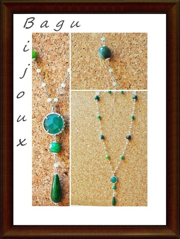 Collana handmade con cristalli, giada e occhi di gatto verde