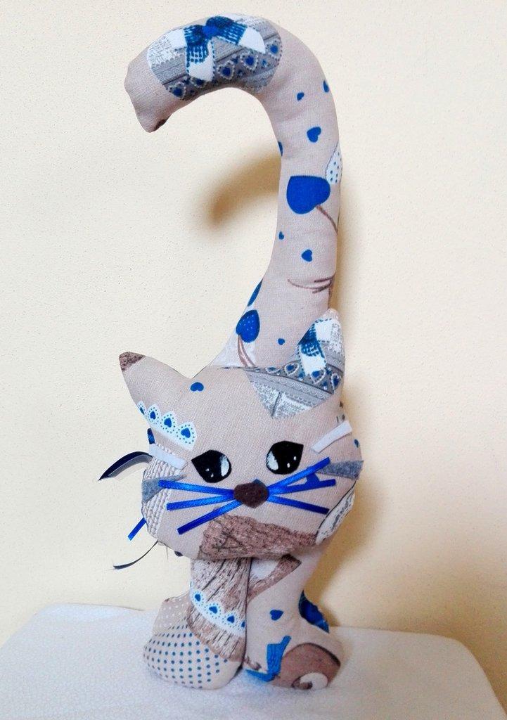 Gatto Fermaporta beige azzurro stoffa con cuori fatto a mano