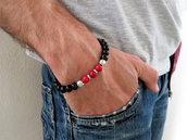 Bracciale uomo perla pietra NERA elastico in metallo argento braccialetto surf