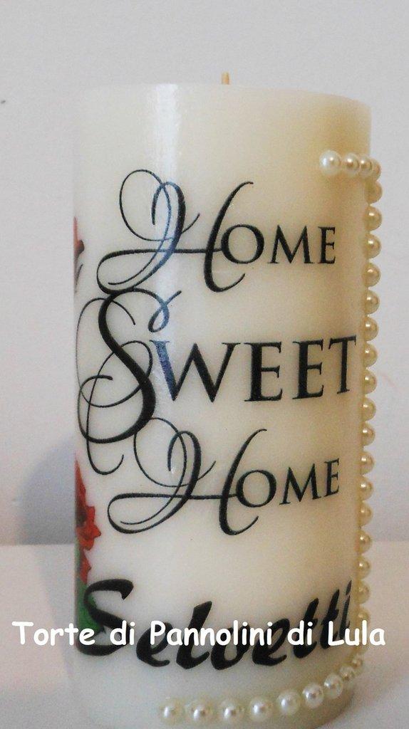 "Candela profumata ""home sweet home"" rose e nome personalizzabile"