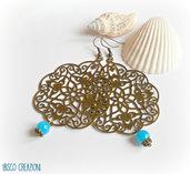 Orecchini pendenti con filigrana bronzo - Goccia