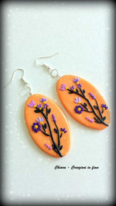 Orecchini in fimo handmade eleganti con fiori in rilievo idea regalo