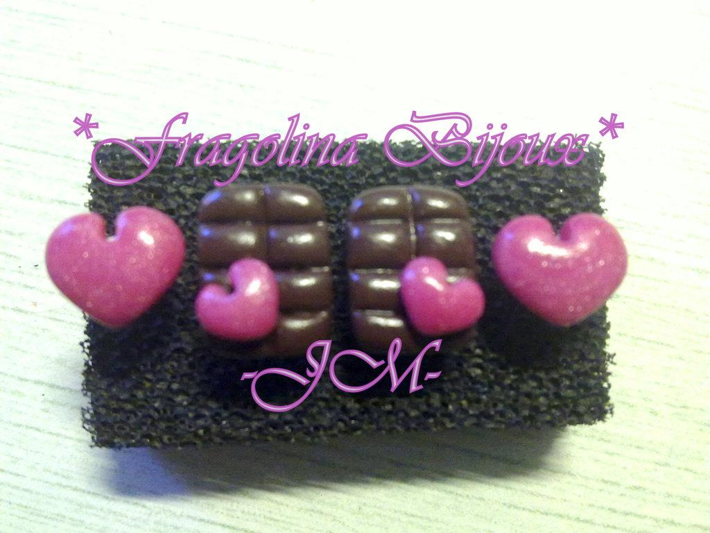 Orecchini lobo tavoletta di cioccolata con cuore