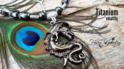 Collana dragone nero acciaio inox titanio ematite