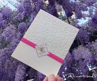 Partecipazione di Matrimonio in rilievo a fiori Modello Macarena by Romanticards