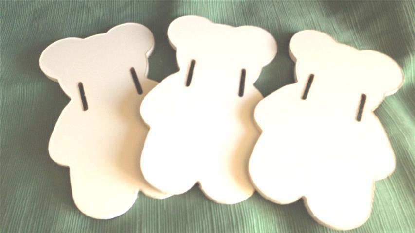 DECORO PERSONALIZZABILE ORSETTO BIANCO  DELLA NINNA NANAN A  - - legno decora i tuoi mobili o le tue pareti  - no fimo - cameretta