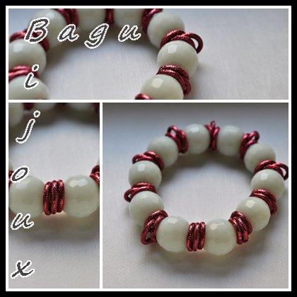 Bracciale in agata e catena rossa
