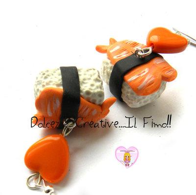 Orecchini Sushi - Ebi nigiri - fimo. cernit. kawaii, japan, idea regalo cute