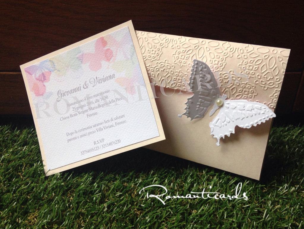 Partecipazione Modello Farfalla 2 in 1, in tono rosa by Romanticards