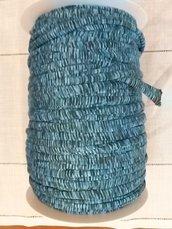 Rocca fettuccia in lycra Fantasia multicolor tonalità blu petrolio