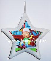 Cuscino stella + nome e foto o disegno personalizzabile decorazione fuoriporta bimbo a bordo