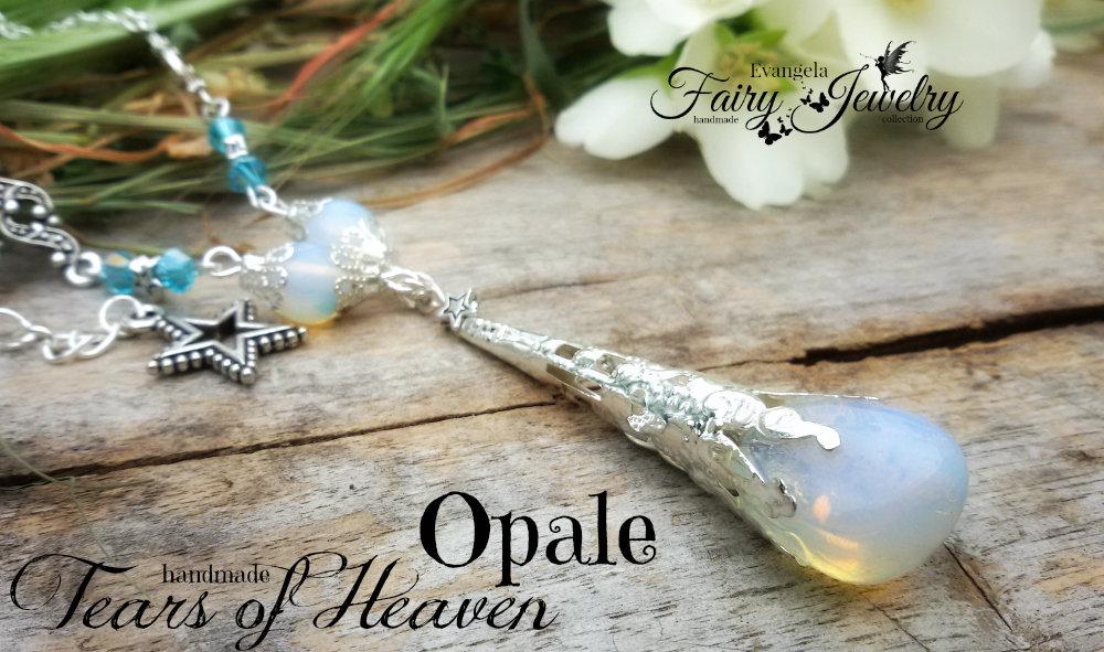 Collana opale naturale burattata e mezzi cristalli opalite