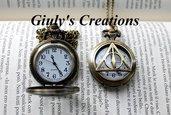 Collana orologio funzionante HARRY POTTER i Doni della Morte deathly hallows HP