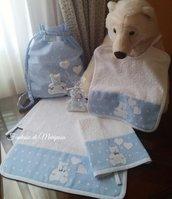 Set asilo bimbo - Sacca,asciugamani,bavaglino - Idea regalo