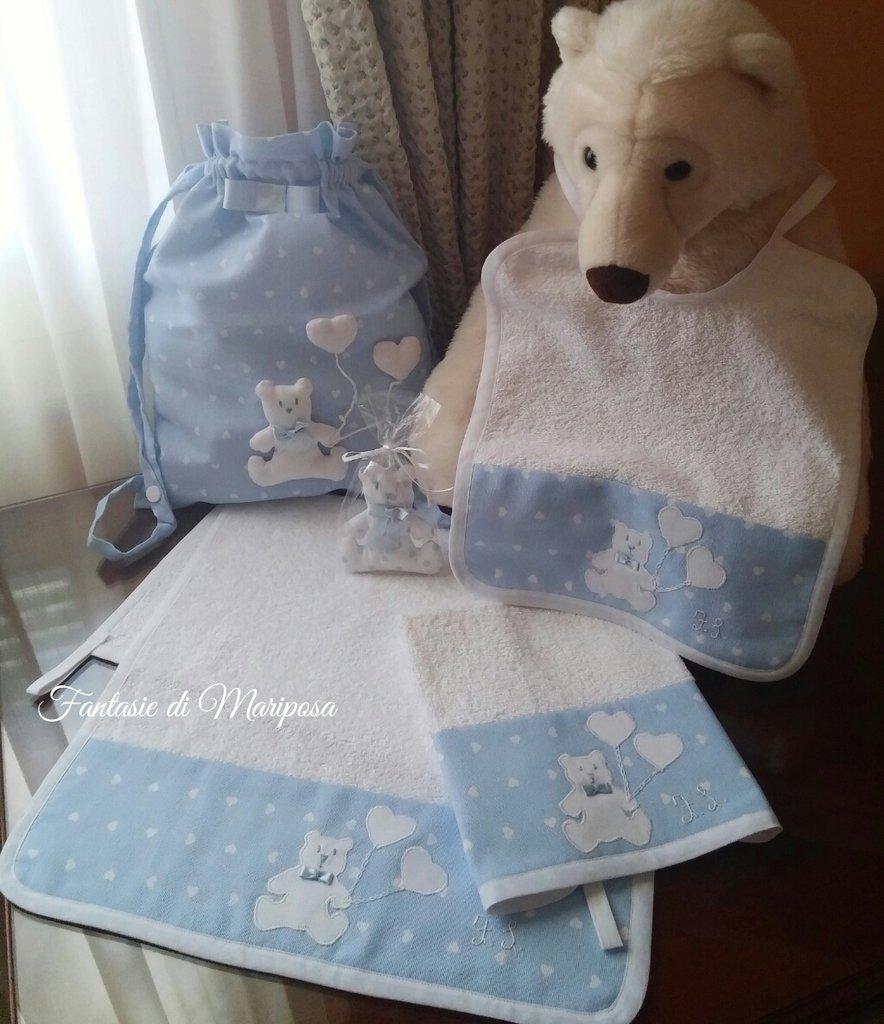 Asciugamani E Bavaglini Personalizzati.Set Asilo Bimbo Sacca Asciugamani Bavaglino Portabavaglino Bamb