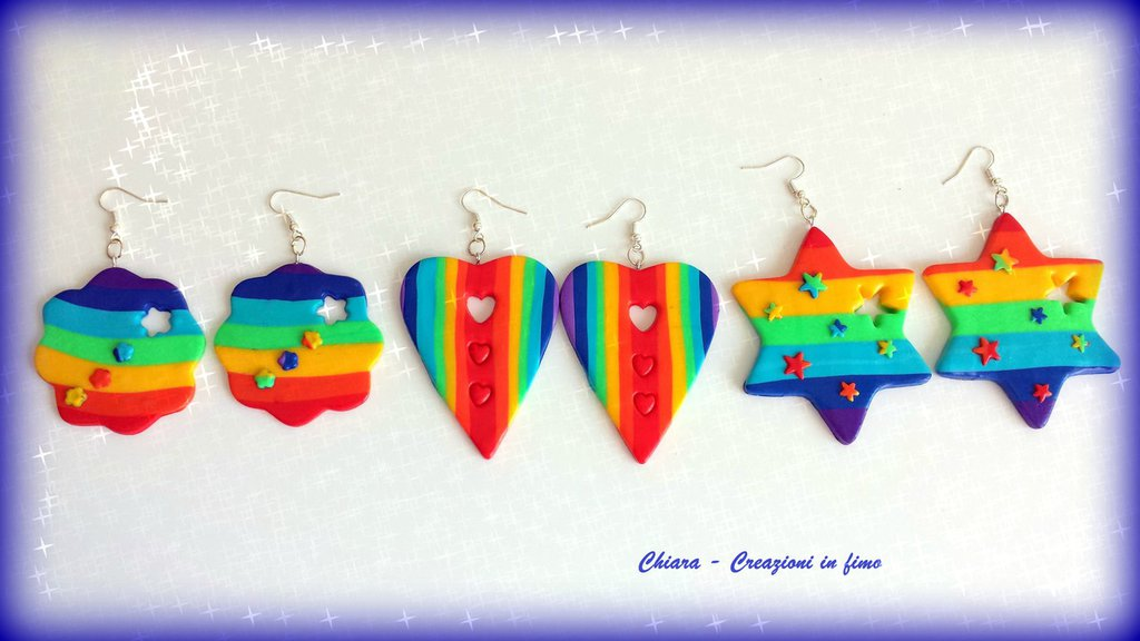 Orecchini in fimo handmade multicolore arcobaleno idea regalo