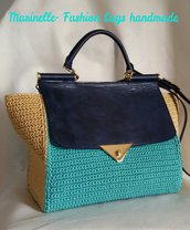 Borsa elegante con chiusura tipo D & G pelle blu e filato thay turchese e senape