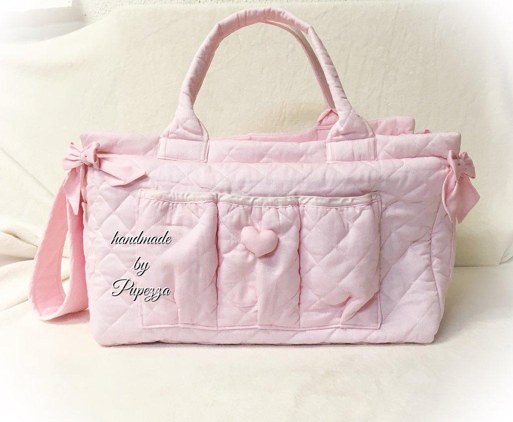 Borsa fasciatoio in puro cotone trapuntato rosa