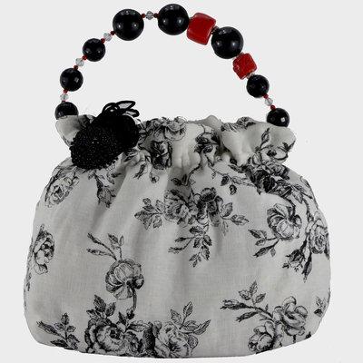 Borsa puro lino con manico in perle