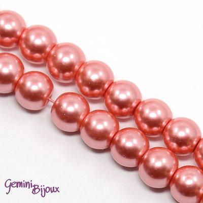 Lotto 20 perle tonde in vetro cerato 8mm fuxia perlato