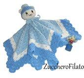 Dudù copertina crochet di sicurezza per neonato, testolina amigurumi , in lana merino celeste e bianco, neonato,bimbo