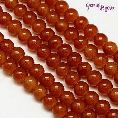 Lotto 20 perle tonde in vetro imitazione giada 8mm Marrone ciliegio