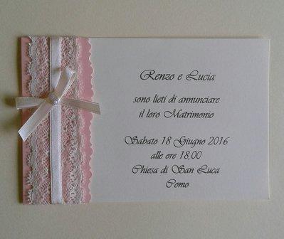 Invito partecipazione di nozze rosa cipria con pizzo