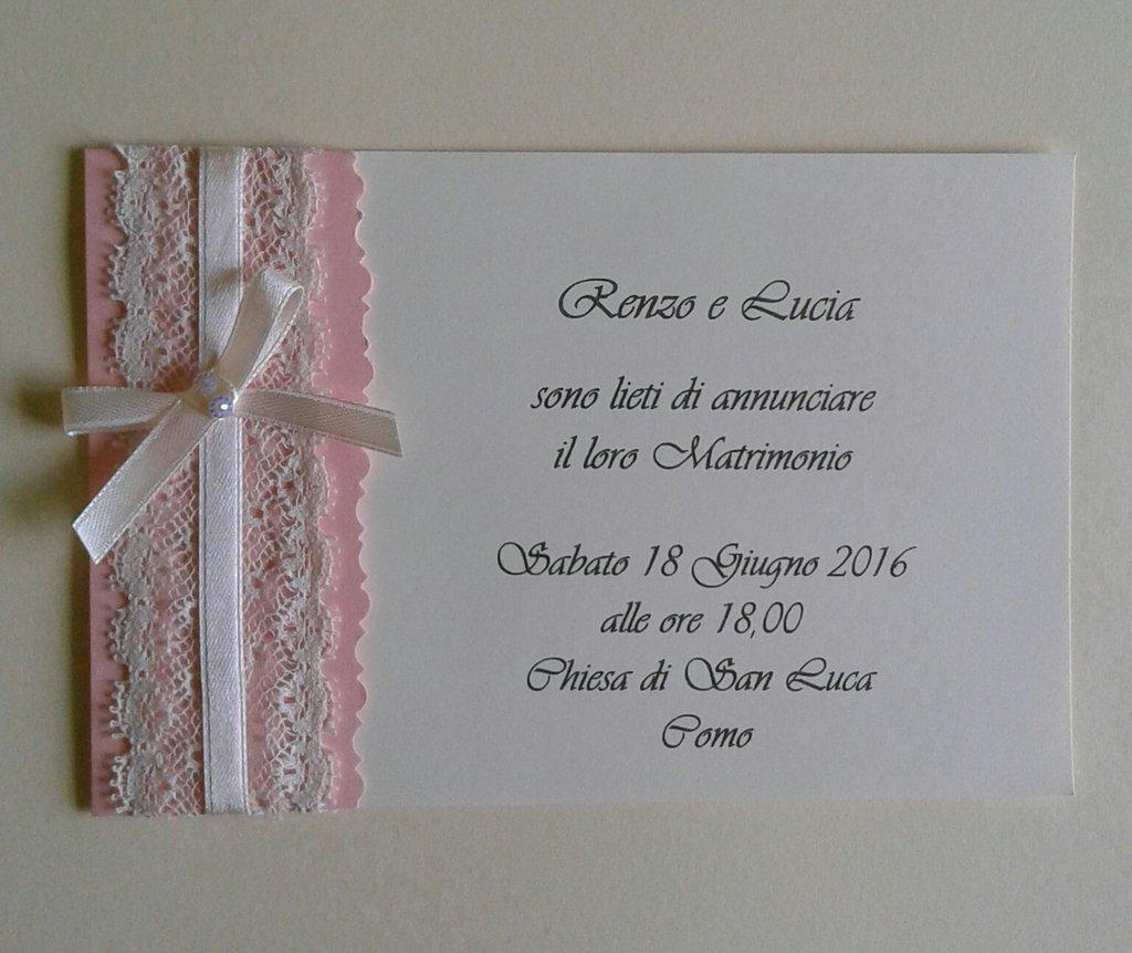 abbastanza Invito partecipazione di nozze rosa cipria con pizzo - Feste - Mat  QG94