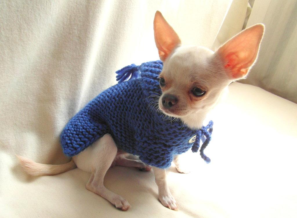 BubaDog Cappottino cane con cappuccio in maglia, Fatto a mano