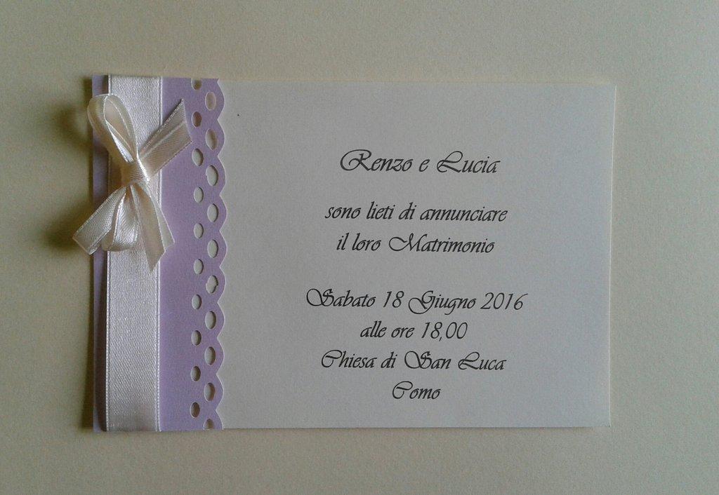 Partecipazione matrimonio lavanda in cartoncino e nastro di raso